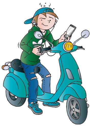 jongen op scooter
